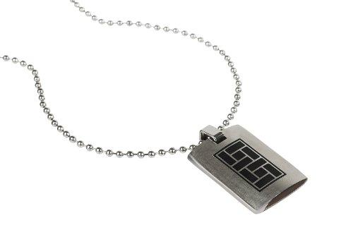 FJC-Pendente per Tablet, in puro acciaio solido, ciondolo con scritta, colore: nero, per incisione, a flip., catenina a palline in acciaio INOX da abbinare al cubo.