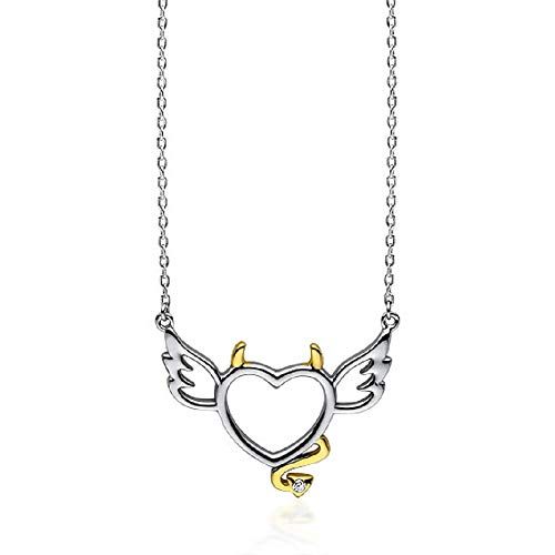 **Beforya Paris** - Teufel Herz mit Zirkonia - Halskette - Silber 925 Schön Damen Halskette - Wunderbare Halskette mit Geschenkbox PIN/75