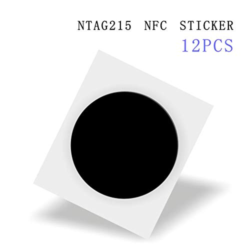 12 Black NFC Stickers NTAG215 NFC Tag Fully Programmable,NTAG 215 NFC Tags Compatible with TagMo and Amiibo,504 Bytes Memory,Compatible with Android and All Other NFC Enabled Devices