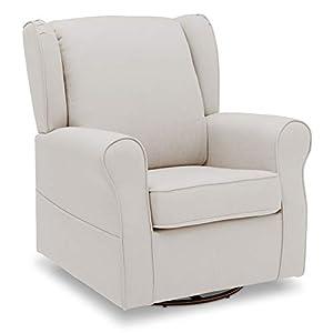 delta children reston nursery glider swivel rocker chair, cream
