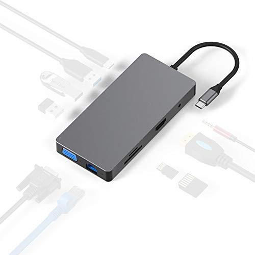 GUARDUU 10 in 1 Type C USB C Laptop Docking Station, USB 3.0 HDMI RJ45 Gigabit PD voor Macbook Samsung Type C Dock USB HUB