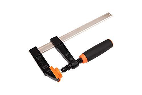 KENDO Schraubzwinge – Max. Spannweite: 300 mm – Spanntiefe/Ausladung: 80 mm – Hochwertige Temperguss-Spannarme und Profilstahl-Gleitschiene – Mit Soft Touch 2-Komponenten-Griff