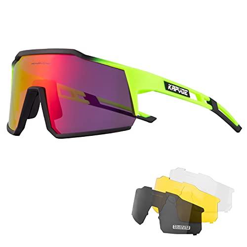occhiali ciclismo KAPVOE Polarizzati Occhiali Da Ciclismo Con 4 Lenti Intercambiabili TR90 Sport Occhiali Da Sole Donne Uomini Corsa Mtb Bicicletta Accessori 07