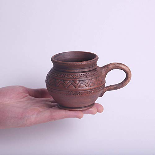 Handmade Stoneware Pottery Espresso Mug 6.7 oz - Unique Tea Cups from Clay - Brown Ceramic Coffee Mugs Earthenware - Handcrafted Pottery Gifts for Men Coffee lovers gift Ukrainian mug with handle