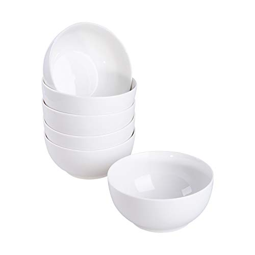 Cutiset 29 Ounce Porcelain Cereal/Salad/Desserts Bowls,  Set of 6, White (6-inch/ 29 Ounce, Round)