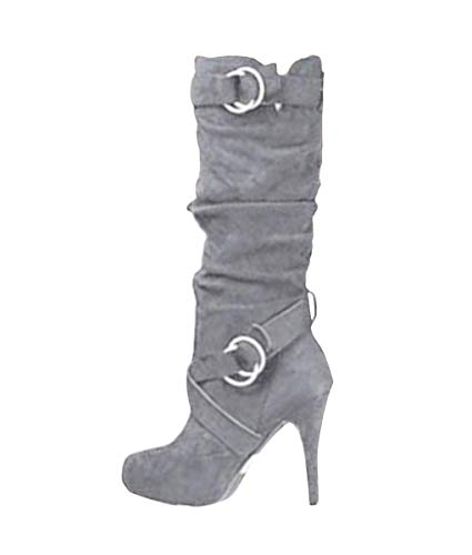 Minetom Damen Stiefel Hohe Stiefel Lange Stiefel Wildleder Boots High Heels Sexy Herbst Winter Mode Elegant Chic Schuhe Grau 37 EU