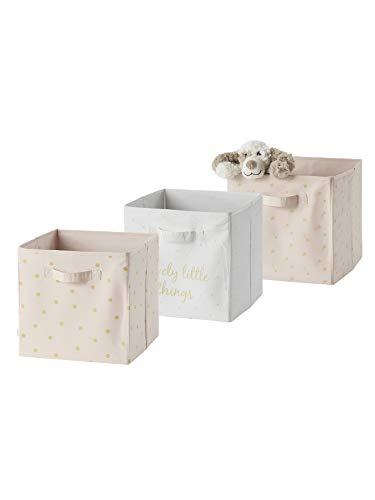 Vertbaudet 3er-Set Aufbewahrungsboxen,Lovely wollweiß+rosa ONE Size