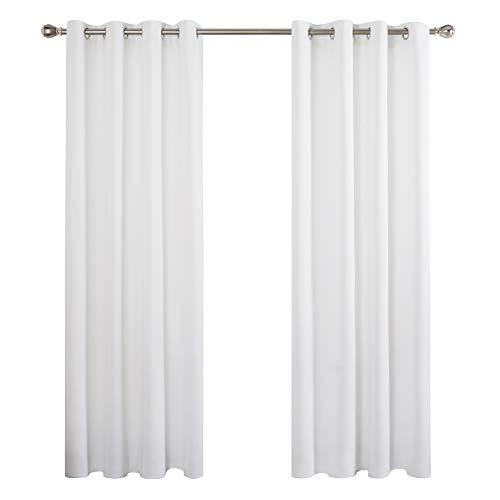 Deconovo Cortinas Salon Dormitorio Moderno para Ventanas de Habitación Juvenil con Ollados 2 Piezas 132x242cm Blanco
