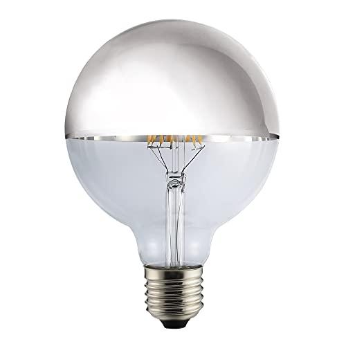 LED Vintage RLED Lampadina LED con luce calda E27, 8W, Argento, 12x 18cm