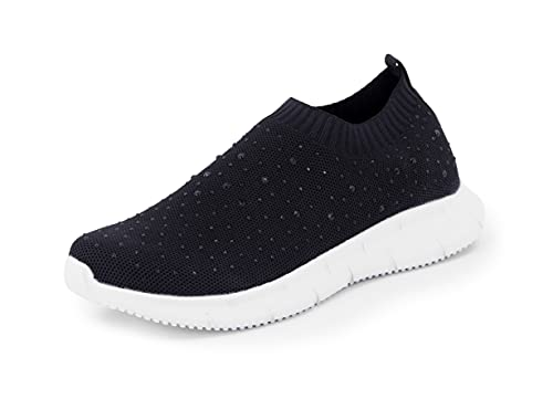 Possidonia Zapatillas Casual con Brillantes para Mujer, Tipo Calcetín, Transpirables Outdoor Ligero Sneakers | Tallaje Ancho 36-41EU (Negro-Blanco, Numeric_38)