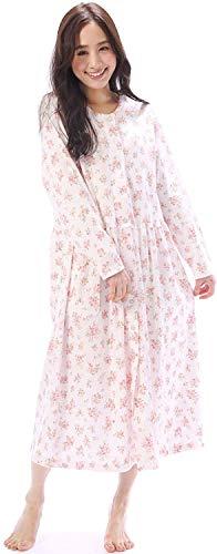 NISHIKI[ニシキ] ネグリジェ パジャマ 日本製 綿100% 肌に優しい 厳正生地 国内縫製 長袖 前開き ロング丈 レディース 春 秋 ルームワンピース ルームウェア ナイトウェア 部屋着 スムース neg (ピンク/M/49560)