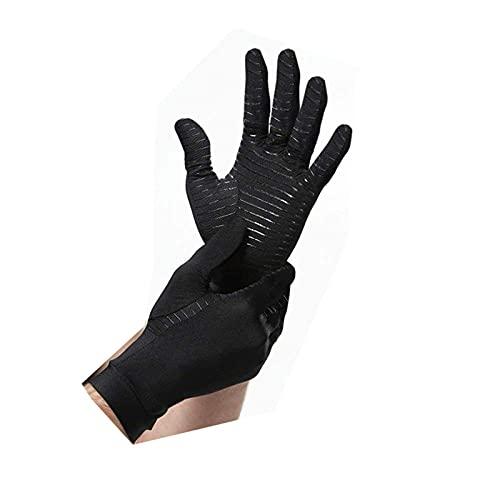 XINJIABAO Guantes de fibra de cobre con dedos completos para la artritis y la salud, guantes de presión de cobre, antideslizantes, absorbentes de golpes, transpirables (color: negro, tamaño: M)
