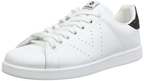 Victoria Unisex-Erwachsene Deportivo Basket Piel Sneaker, weiß - schwarz Glitzer (Negro 10), 39 EU
