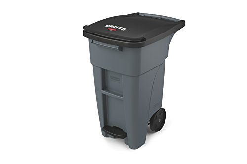 Rubbermaid Commercial Products BRUTE Rollout Step On Trash/Garbage Can - 32 Gallon - Gray