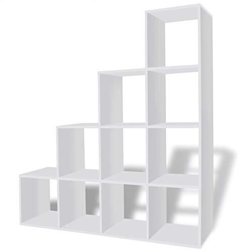 vidaXL Estantería para Libros en Forma de Escalera con Dimensiones 142 cm Color Blanca