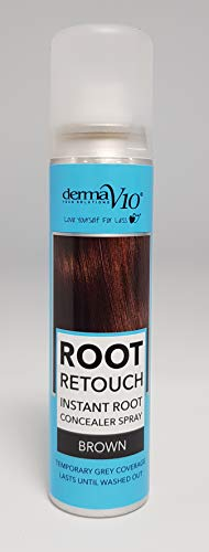 Derma V10 Root Retouch Instant Hair Concealer Spray, Brown, 75 ml (pack of 12),ROOTRETOUCHBROWN75ml