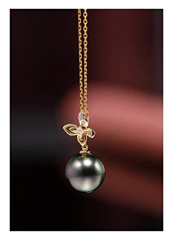 DX.PZ Oro De 18 Quilates Mariposa Perla Colgante Mujer Delicado 9-10 MM Negro Perla De Tahití Colgante Collar para Mamá Esposa Multa Joyería Regalo