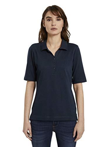 TOM TAILOR Damen Poloshirts Poloshirt mit Langer Knopfleiste Sky Captain Blue,XXL,10668,6000