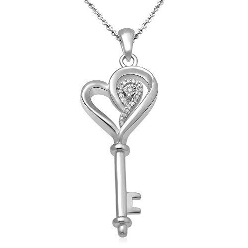 Collier Pendentif Clé et Coeur en argent sterling avec Diamant - 0
