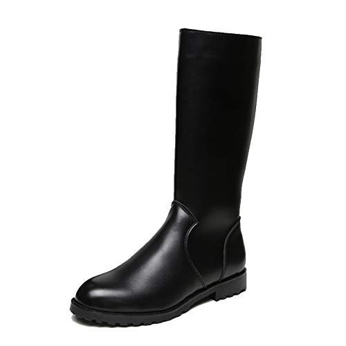 shoe Botas de Cuero para Hombre, Botas largas, Botas de Moto Antideslizantes, Botas de caña Alta cómodas, Transpirables, Botas Casuales Impermeables, aptas para Motos/Caminar/Hacer Senderismo