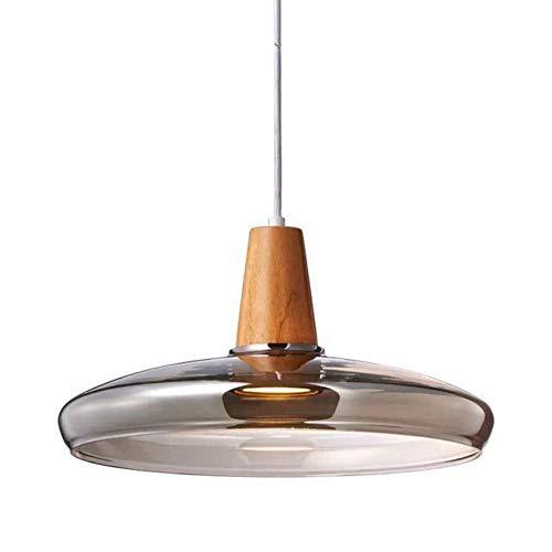 FEE-ZC - Lámpara Colgante de Vidrio Industrial para Loft Moderno, Pantalla ahumada, E27, Acabado de Madera, iluminación de Techo Vintage, lámpara Colgante para Kithcen Is