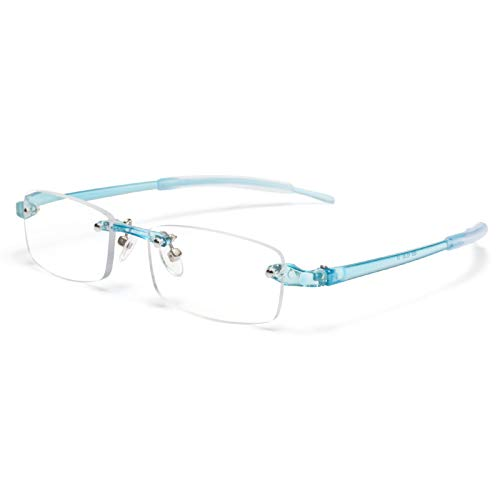 JIMMY ORANGE 老眼鏡 縁なし リムフレ 超弾力性 TR素材 ブルーライトカット PCメガネ 軽量 おしゃれ 4色 携帯用 メンズ レディース リーディンググラス ツーポイント(ブルー,+2.5)