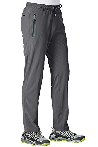 TBMPOY Men's Ultra Light Athletic Travel Pants Open Bottom Sports Exercise Pants(Dark Grey,US M)