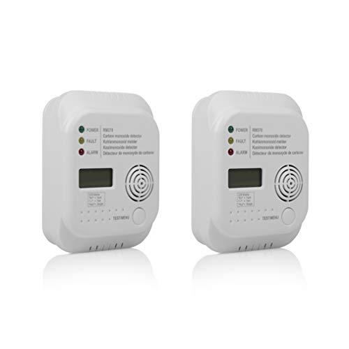 Smartwares Kohlenmonoxid Melder mit Display und Temperaturanzeige, Prüftaste, RM370, 2 Stück