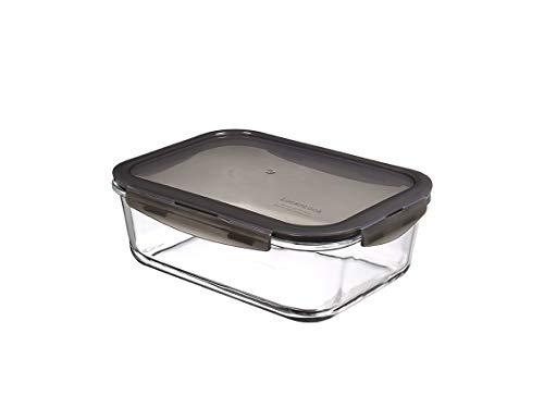 LocknLock Oven Glass Glas Frischhaltedose mit Deckel 2 L, 251 x 189 x 88mm, Rechteckig, Kühlschrank-, gefriertruhen- und spülmaschinengeeignet, Borosilikat-Glas bis 400°C ofen- & mikrowellenfest