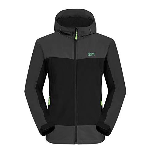 Balcony&Falcon Softshell Jacke für Herren reißfeste & atmungsaktive Funktions Jacke Wasserabweisende Outdoor Jacke für Herren Schwarz M