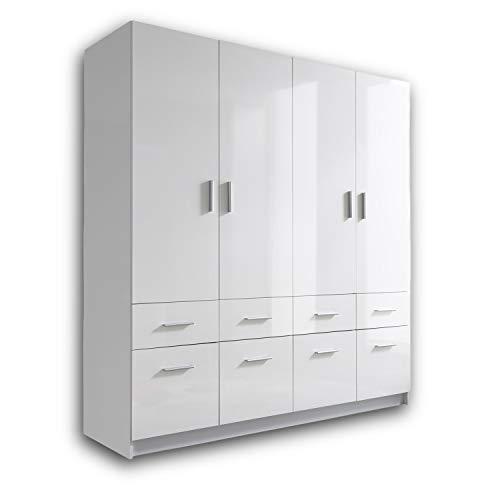 HAGEN Eleganter Kleiderschrank 4-türig mit viel Stauraum - Vielseitiger Drehtürenschrank in Weiß, Front Hochglanz Weiß - 180 x 195 x 57 cm (B/H/T)