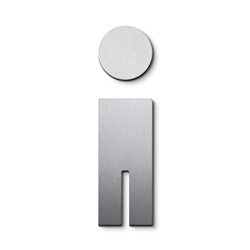 PHOS Edelstahl Design, P0301, WC Türsymbol/Piktogramm Herren, Edelstahl gebürstet, selbstklebend, internationale Design-Auszeichnungen, Toilettenschild, Symbol, Türschild, Geschlechts-Schild, Mann
