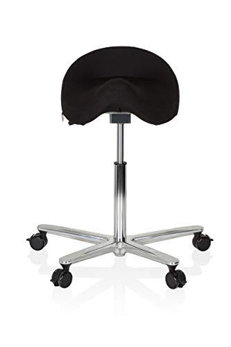 hjh OFFICE 608911 Arbeitshocker Move-TEC 3D PRO I Stoff Schwarz Sattelhocker für dynamisches & gesundes Sitzen