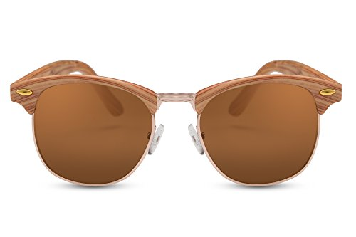 Cheapass Sonnenbrille Braun Holz-Optik UV400 Gradient Linsen Retro Plastik Damen Herren