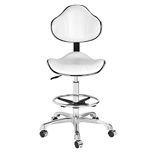 Kaleurrier Ergonomic Drafting Chair with Back Support,Multi-Functional Height Adjustable Swivel Rolling Stool,Multi-Purpose Home Office Desk Chair(White)