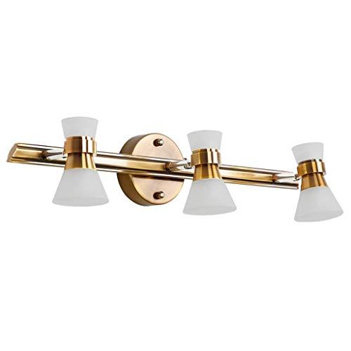 Yankuoo Moderne led-badkamerspiegel met 3 lampen, klassiek metaal, waterdicht en anti-fog decoratieve wandlamp, slaapkamer, cosmeticaspiegelverlichting