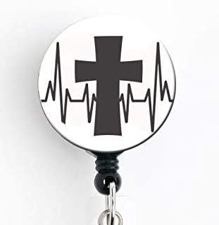 EKG Large Cross - Retractable Badge Reel with Swivel Clip and Extra-Long 34 inch Cord - Badge Holder