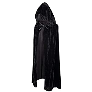 Crizcape Kids Costumes Capes Cloak with Hood for Halloween Party 5-7 Years Black