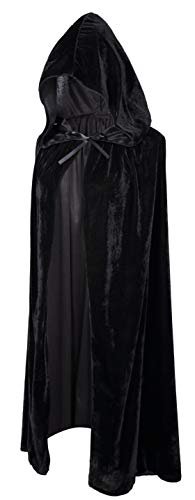 Crizcape Kids Costumes Capes Cloak with Hood for Halloween Party Ages 2 to 18 (Black, S/60CM)