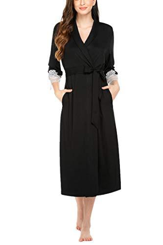 Unibelle dames ochtendjas Kimono kant lace lange badjas met zakken V-hals nachthemd nachtkleding party S-XXL