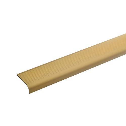 acerto 51018 Aluminium Treppenwinkel-Profil - 100cm, 15x40mm, gold I Rutschhemmend I Robust I Leichte Montage I Treppenkanten-Profil, Treppenstufen-Profil aus Alu I Treppenprofil Treppenkantenschutz