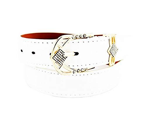 Cinturón de mujer de cuero ecológico blanco - hebilla de diamantes de imitación - Idea de regalo de cumpleaños