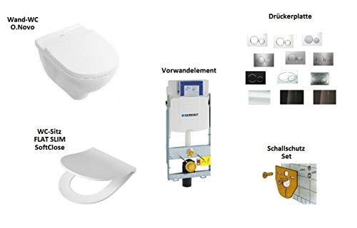 *Komplett-Set* - V&B O.Novo - Wand-WC + WC-Sitz - SoftClose + Geberit Duofix GIS UP320 Element + Drückerplatte - Sigma 01 - Weiss