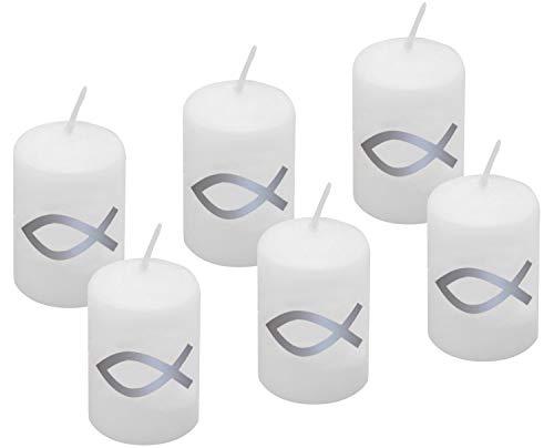 6 Votivkerzen 60x40mm Silber Fisch Kerze Kommunion Konfirmation Taufe Tischdeko Kerzendeko