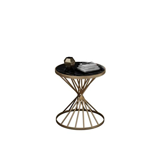 A-Yan-Q-Muebles de oficina Mesa redonda lateral, mármol artificial acabado de metal Mesa de café Living Room Cafe Oficina de Recepción de habitaciones Mesa for sofá, tamaño: 45 * 45 * 55cm Mesas de pe