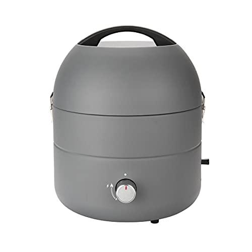 TAINO Tischgrill Kompakt-Grill Gasgrill Gas Tisch Edelstahl-Brenner BBQ Camping (Grill-to-Go Grau)