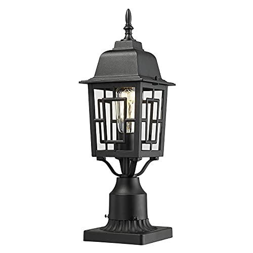 Beionxii Outdoor Post Light, Exterior Pole Lamp with Pier Mount Adapter, Cast Aluminum Housing with Tempered Glass, Textured Black Finish - DM7031P-BK