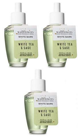 Bath and Body Works 3 Pack White Tea & Sage Wallflowers Fragrance Refill. 0.8 fl oz.