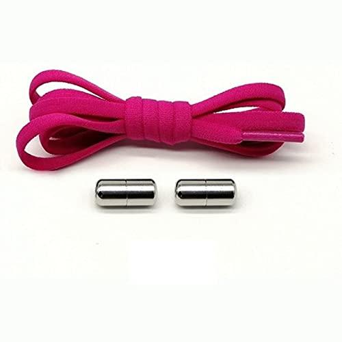 1 par de cordones elásticos con bloqueo, semicírculo, cordones de los zapatos, cordones, cordones, cordones rápidos, sin cordones, cordones, niños, adultos, cordones, 12 colores-ESPAÑA, rosa rojo