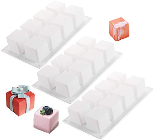 Nicunom 3 Pack Silicone Mousse Molds, 3D Square Shape Baking Mold for Mousse Gummy Jelly Truffles Candy Chocolate Dessert Pralines Caramels Ganache, 8 Cavity, White